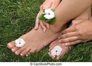 Pedicured Feet on Grass - Pedicured feet on grass