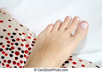 Pedicured foot