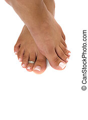 pedicured, pieds