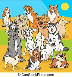 pedigree dogs cartoon characters group