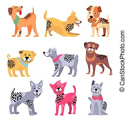 Pedigree Dogs Isolated Cartoon Illustrations Set