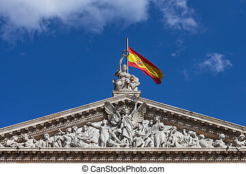 Pediment of the National Library of Spain in Madrid - Spain...