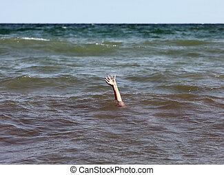pedir, ajuda, pessoa, enquanto, afogamento, mar