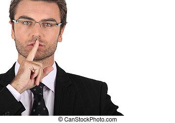 pedir, esperto, silêncio, homem