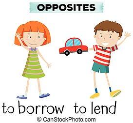 pedir prestado, prestar, wordcard, contrario