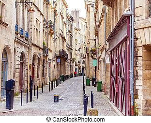 pedone, bordeaux, strada, vecchia città
