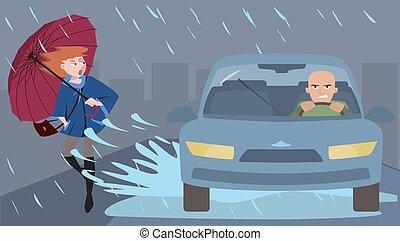 pedone, schizzi, discourtesy, automobile, illustrazione
