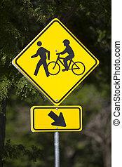 pedoni, bicycles, segno strada