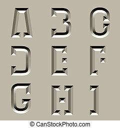 pedra, alfabeto, -, 1, vetorial, esculpido, parte, fonte