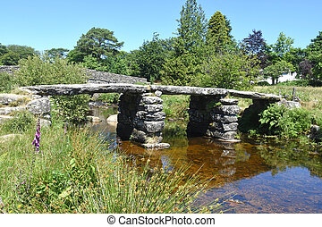 pedra, antiga, aplaudidor, dartmoor, england., ponte