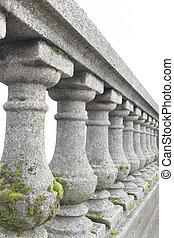 pedra, antigas, balaústre, trilhos