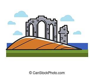 pedra, arcos, ruínas, de, escócia, ligado, colina, perto, oceânicos