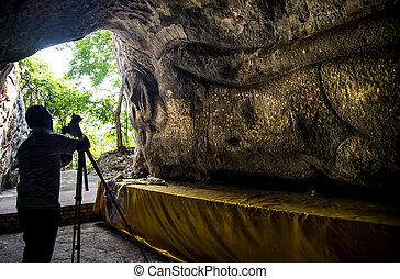 pedra, arte, moldagem, parede, fotógrafo, estilo, buddha, tailandês