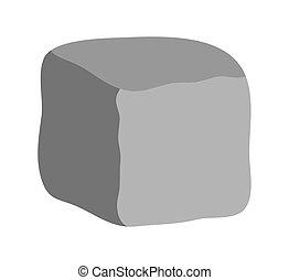 pedra, bloco, vetorial, símbolo, ícone, design.
