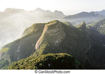 View of the Beautiful Rock Pedra Bonita by Sunset in Rio de Janeiro, Brazil.