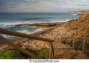 Mafra, Portugal. 22 January 2020. Pedra Branca beach in Ericeira, is part of the world surf reserve in Ericeira Portugal.