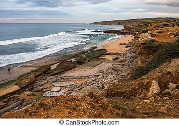 Pedra Branca beach in Ericeira, is part of the world surf reserve in Ericeira Portugal.