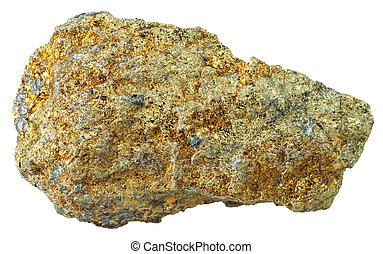 pedra, branca, mineral, pyrite, isolado
