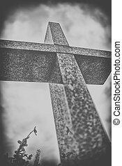 pedra, céu, crucifixos, nublado, dramático, pretas, contra, branca
