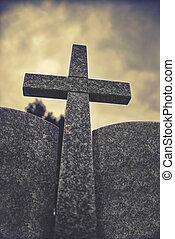 pedra, céu, vindima, efeito, nublado, crucifixos, dramático, contra