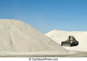 pedra calcária, escavador, pedreira