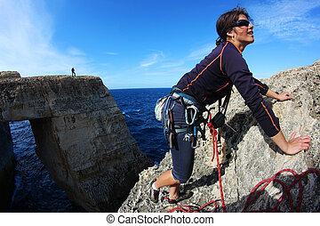 pedra calcária, ilha, jovem, malta, mulher, escalar rocha