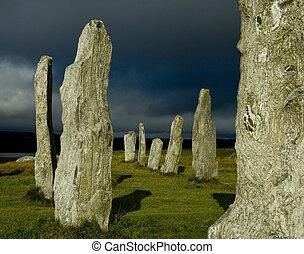 pedra, callanish, círculo