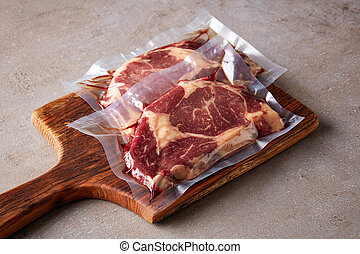 pedra, carne, selado, vácuo, tabela, bife