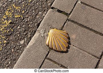 pedra, concha, la, rioja, maneira, metal, solo, james, são, dourado, ruas, espanha, chão, najera