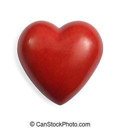 pedra, coração, vermelho, isolado