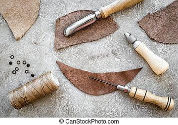 pedra, couro, topo, crafting, cinzento, fundo, ferramentas, vista