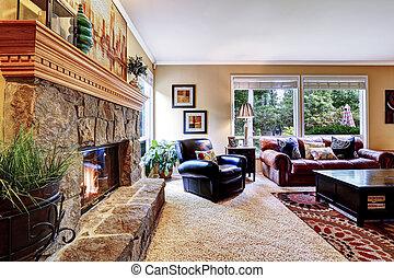 pedra, cozy, família, aparado, luxo, lareira, sala