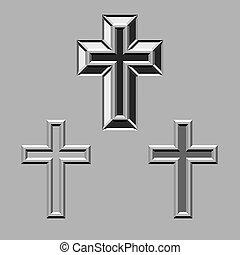 pedra, cruzes, cristão, vetorial, esculpido, 3d