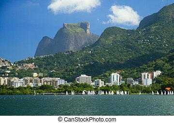 Pedra da Gavea seen from the Lago Rodrigo de Freitas, in Rio de Janeiro, Brazil