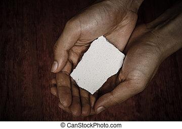 pedra, em branco, bloco, mãos