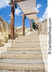 pedra, escadas, em, exoticas, lugar