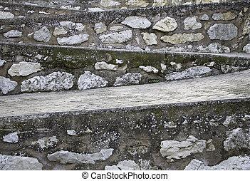 pedra, escadas