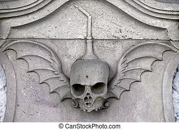 pedra, esculpido, cranio