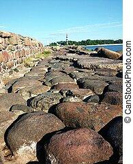 pedra, estrada, ruínas, direção, a, mar