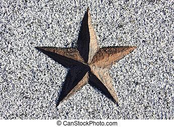 pedra, estrela, esculpido, vermelho