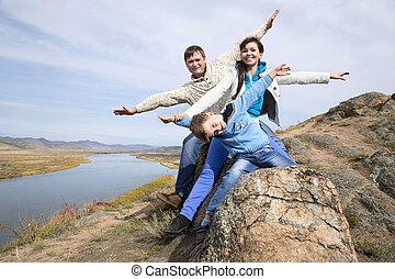 pedra, família feliz, sentando