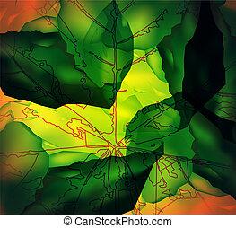 pedra, folha, abstratos, experiência., cubes., veins.