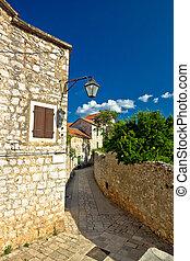 pedra, ilha, stari, arquitetura, hvar, grad