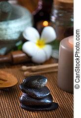 pedra, itens, quentes, tratamento, fundo, spa, massagem