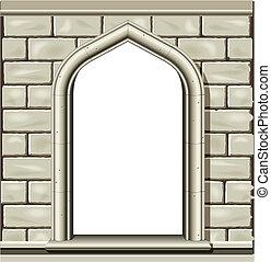 pedra, janela arqueada