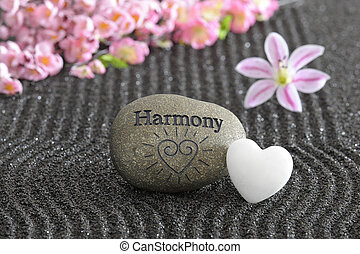 pedra, jardim zen, harmonia