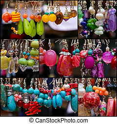 pedra, jogo, coloridos, colagem, pendentes, brincos