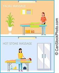 pedra, jogo, quentes, vetorial, tratamento, massagem facial