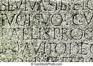 pedra, letras, romana, esculpido