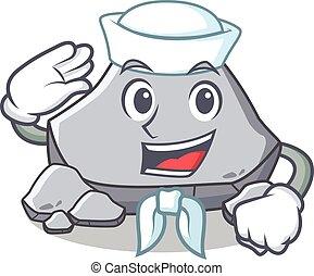 pedra, marinheiro, personagem, estilo, caricatura